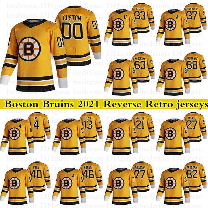Boston Bruins 2021 Reverse Retro Jerseys 37 Bergeron 88 David Pastrnak 4 Bobby Orr 33 Chara personalizzata Qualsiasi numero qualsiasi nome hockey jersey