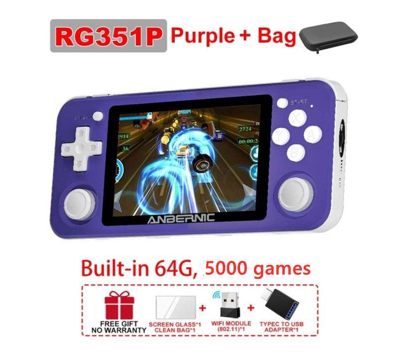 Anbernic R351P 3.5 بوصة IPS محمولة الرجعية لعبة وحدة التحكم RK3326 مفتوح المصدر 3D الروك 64 جرام 5000 ps neo md فيديو ألعاب الموسيقى لاعب
