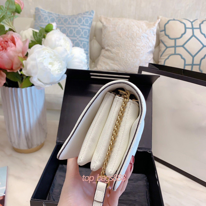 2021 Frauen Mode Damen Handtaschen Geldbörsen Kameratasche Weiß Leder Diamant Chevron Stepptasche auf Kettenklappe Schulter Crossbody Hochwertige Handtaschen