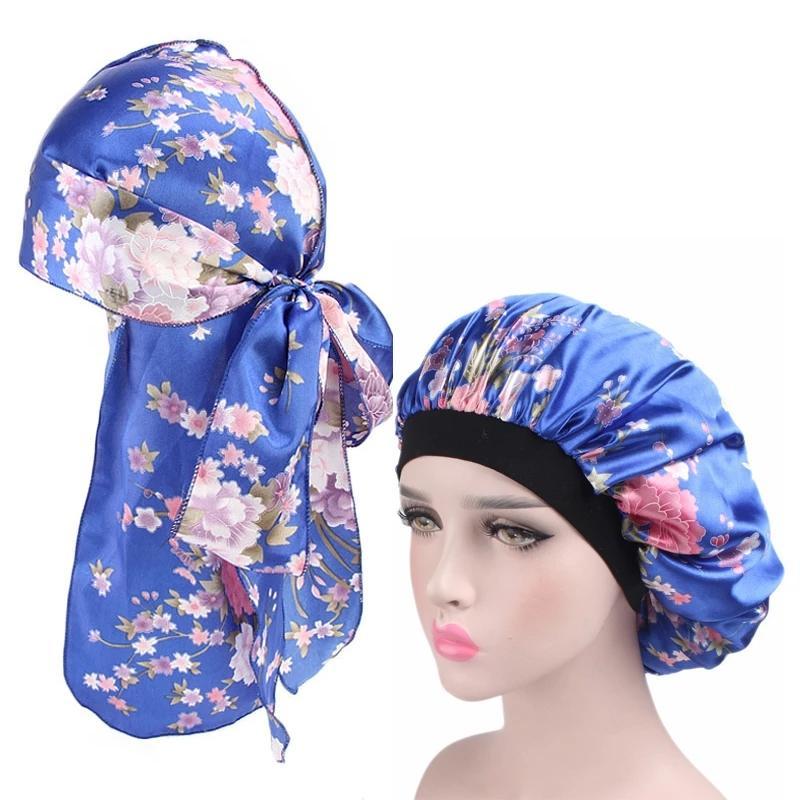 المرأة حريري durag وسرقة واسعة الحرير بونيه لينة الساتان الليل النوم قبعة السيدات العمامة مريحة النوم قبعة 2 قطعة / مجموعات
