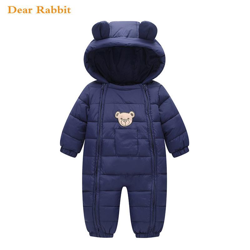 Yeni doğan snowsuit bebek kız erkek bahar ceket giysi sıcak giyim tulum romper çocuklar kış tulum parka kapüşonlu manto 201023