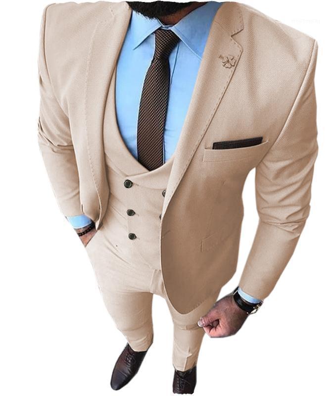 Traje para hombre 3 piezas Slim Fit Muesca Plaza Groomsmen Taxedos Para Boda Beige / Blanco / Gris / Trajes Negros Men 2019 (Blazer + Chalectro + Pantalón) 1