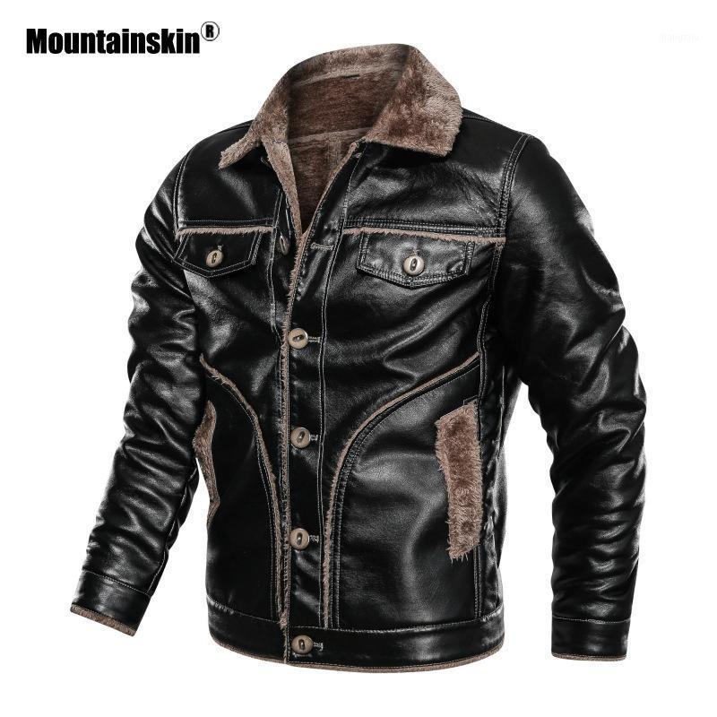 Mountainskin Winter Men's Thick PU Jacket Mens Motorcycle Leather Jacket Fleece Warm Leather Coats Male Brand Clothing SA8501