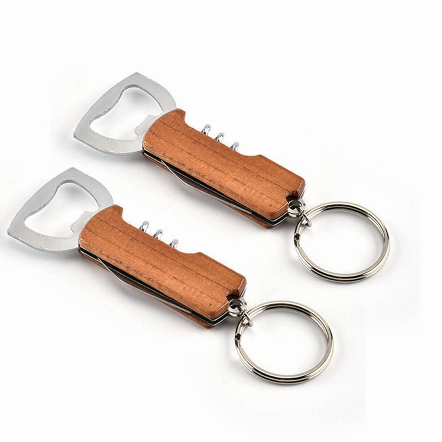 Apristitori Maniglia in legno Opener Bottiglia Portachiavi Keychain PullTap Doppio Cerniera a cerniera Acciaio inossidabile Portabocchio Apri portachiavi Bar RRB3232