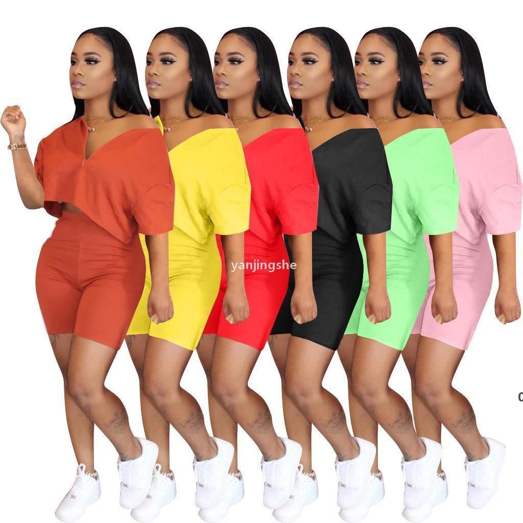 JH Wholesale Designer Outfits 2 Piece Set Tracksuit Short Sleeve Short Sportswear Slim Shirt Pant Sport Suits Women Clothing