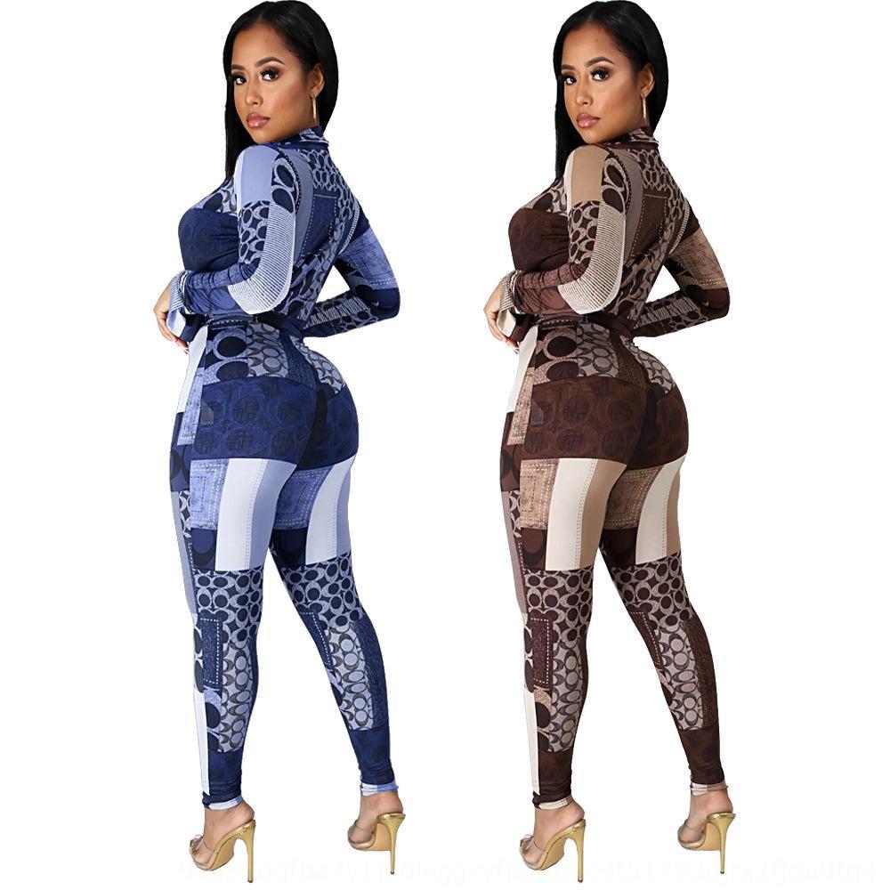 9ABL Femmes039; s Deux pièces Ensembles V-Col V-Col Pantalon Automne Sexy Crop Tops Sleeve 2020 Ensembles assortis féminins Streetwear Tracksuits