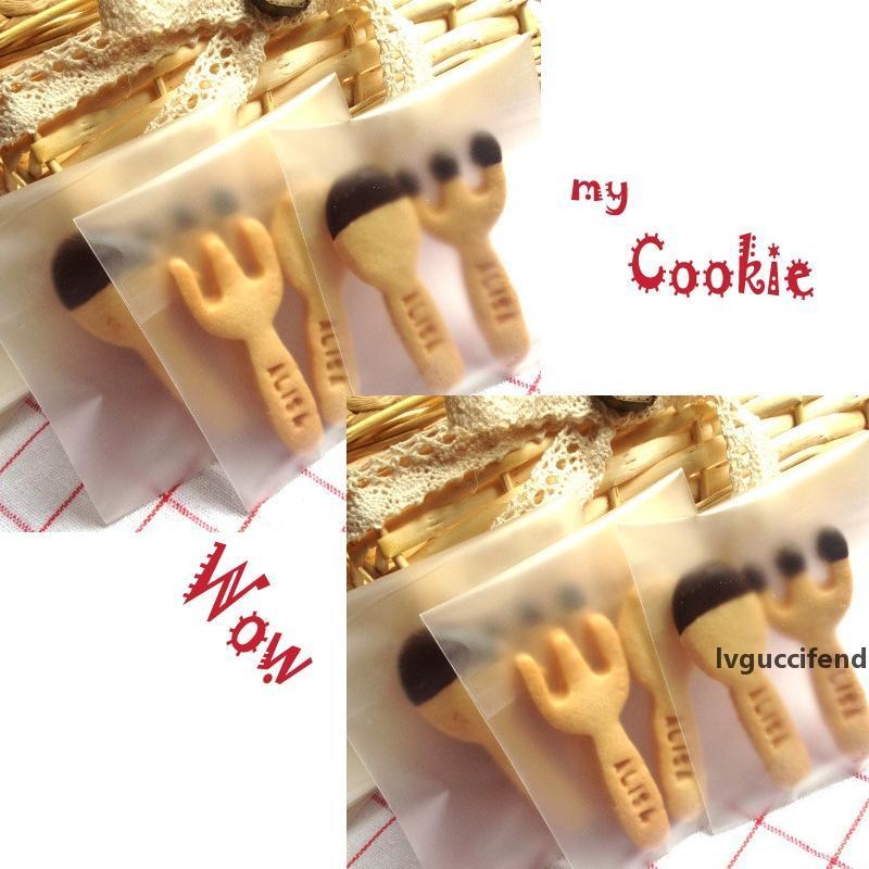 Wholesale-givré 50pcs / lot Cookie mignon Pas d'impression Emballage Cadeau auto-adhésif Sacs en plastique mat pour biscuits Snack Cake Package