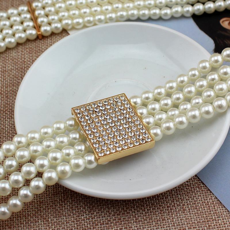 Cadena de la correa automática buckleswomen perla diseño ceintures cinturón femmes 70 cm cinturones de moda de los cinturones de diseño