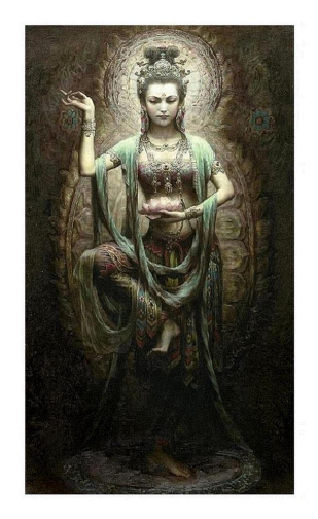 A74 gerahmt Ungerahmt chinesische Dunhuang Kwan-yin Göttin Hohe Qualität handworte HD Print Porträt Kunst Ölgemälde auf Leinwand Multi Größen D40