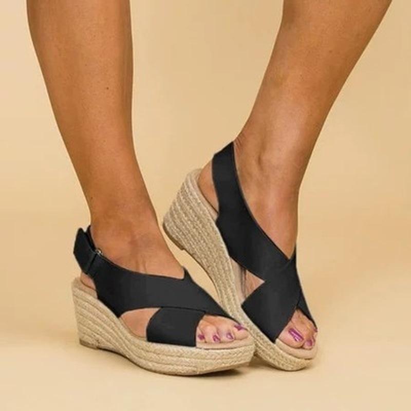 Venta caliente Señoras Concise Mid Wedges Sandalias Sandalias Mujeres Verano Peep Toe Color Sólido Sandalias Punto Zapatos Casuales al aire libre 35-43