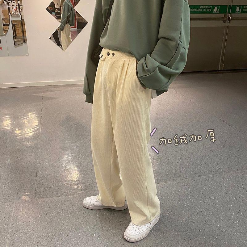 السراويل الرجال 2021 سماكة كودري النسيج واسعة الساق فضفاض السراويل فضفاضة البضائع الأبيض عارضة الشارع الشهير sweatpants M-2XL