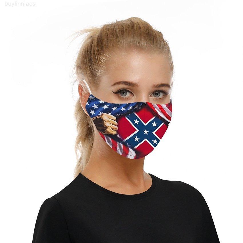 Southern Confédérée Masque Bouche Baturon Drapeau Coton Drapeaux Coton Guerre Civil Civil Lavable Civiliable Masques de visage réutilisables CYZ2578 J7E KWIKW