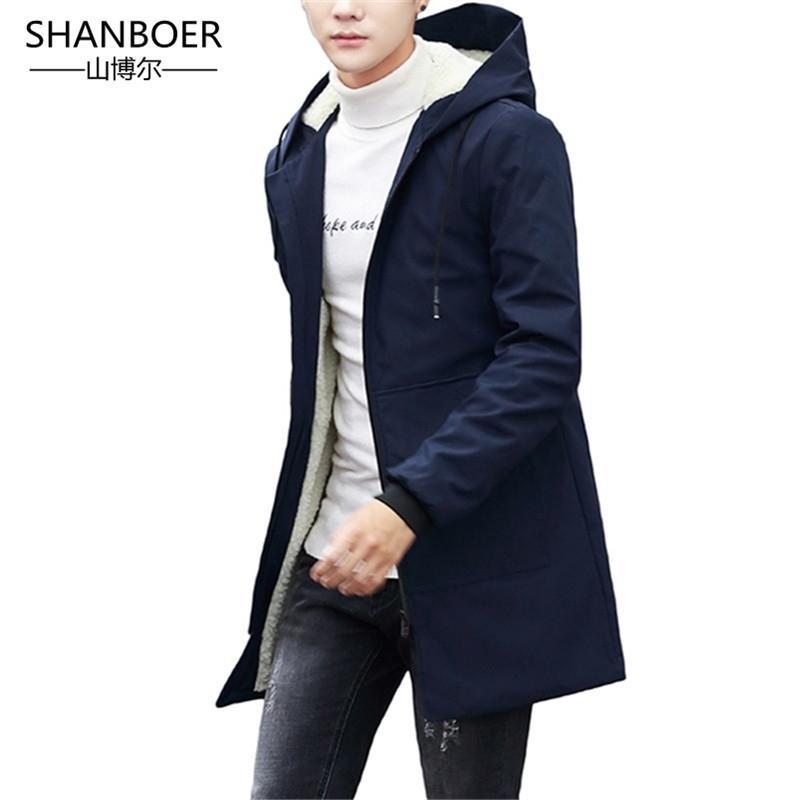 Homens de jaqueta de inverno com capuz magro coreano parka hombre casaco longo casaco de cashmere homens windbreaker parkas de algodão enorme 5xl 201023
