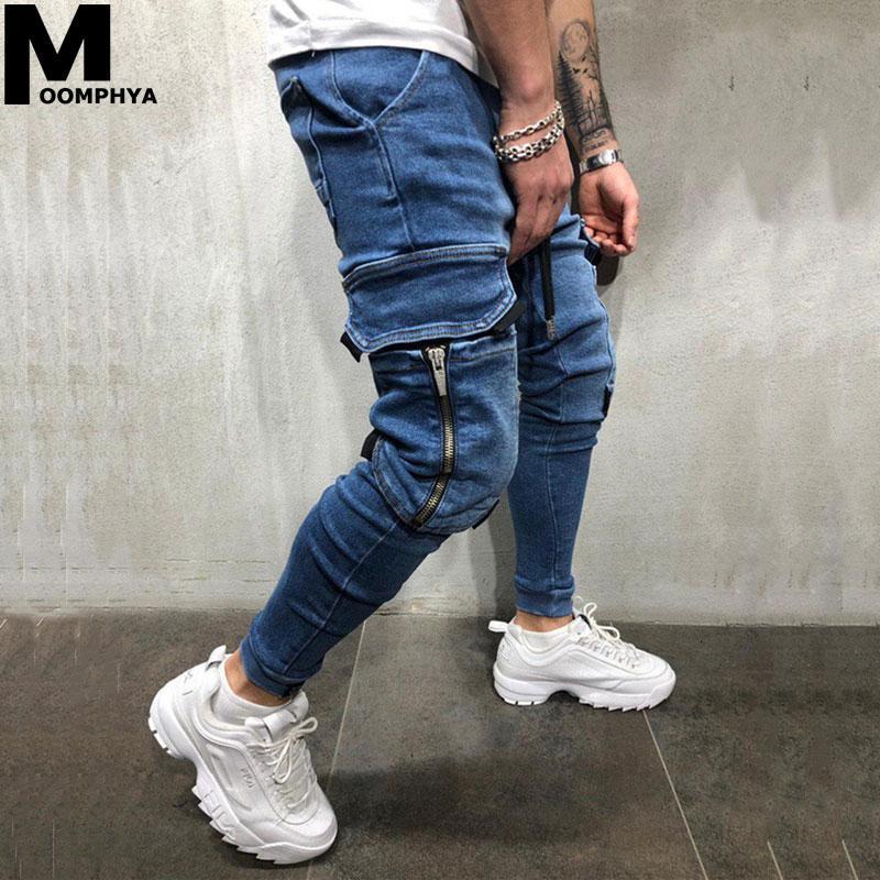 Moomphya Side Pockets Jogger Jeans Skinny Jeans Men Streetwear Mens 2020 Denim Trousers Men Hip Hop Black