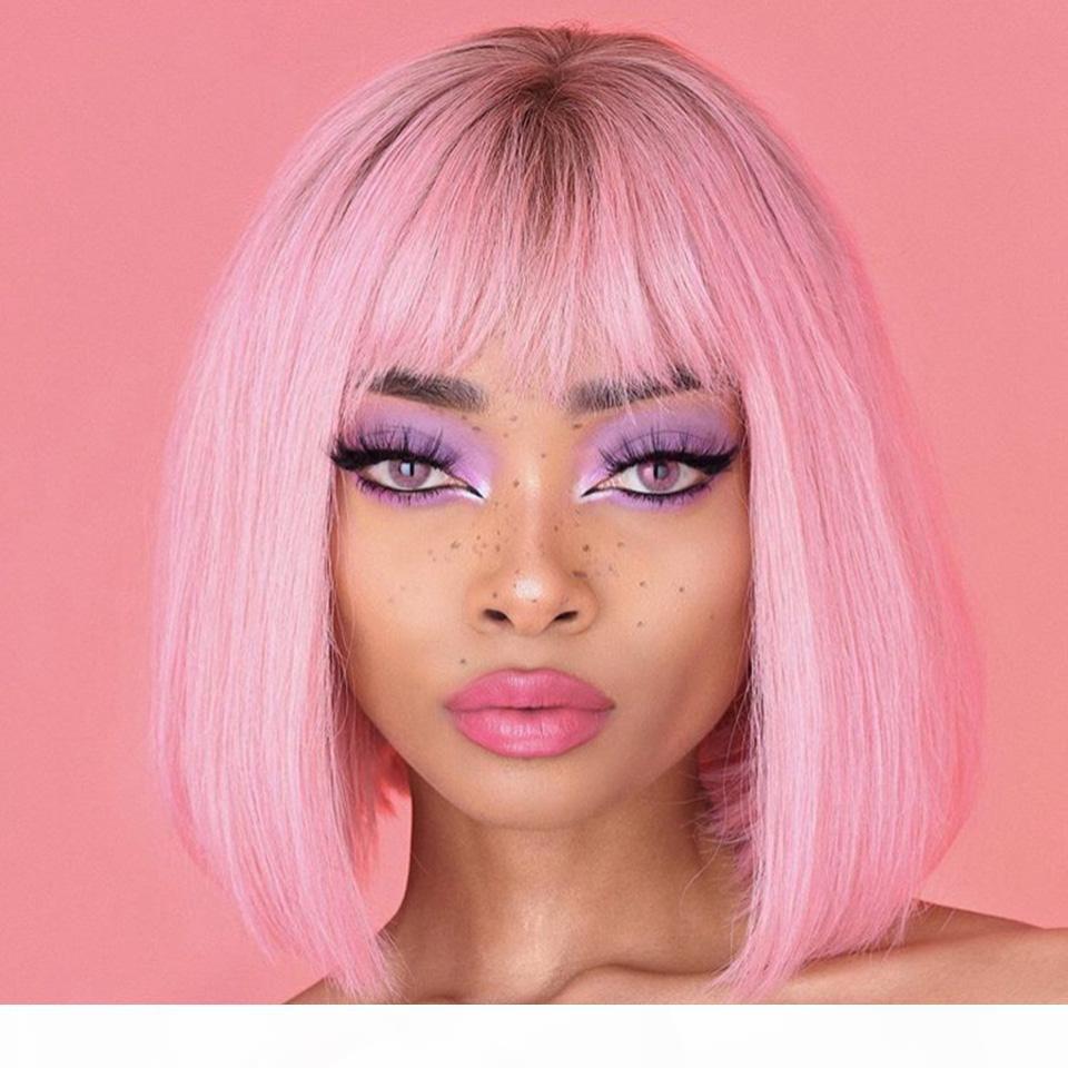 Perruques de cheveux humains en dentelle avec franges Remy Brésilien Remy Glresse ombre Pink Bob Bob Perruques pour femmes noires