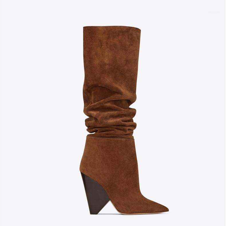 Сапоги Сексуальное колено для женщин Spike High каблуки замшевые кожи осень зима коричневый ботас муджер клин обувь женщина1