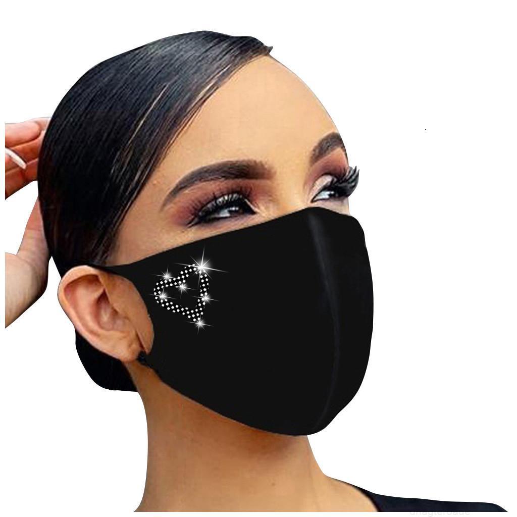 Buchstaben Diamant Maske Frauen Gesegnet Erwachsene Modedesigner Gedruckt Wiederverwendbare Dekoration für Gesichtsmasken Masque Coton Reutilisabl Jllsme
