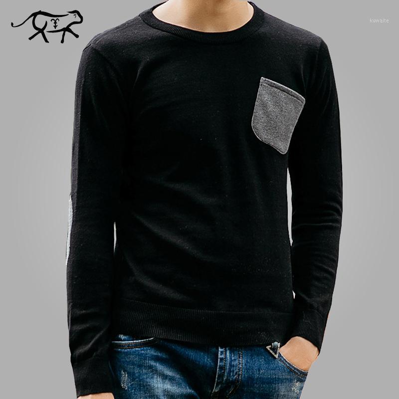 Мужские свитера мода свитер мужчины повседневные базовые тонкие подходят с длинным рукавом мужские рубашки хлопчатобумажные пуловеры кашемировые твердые трикотажные изделия Male1