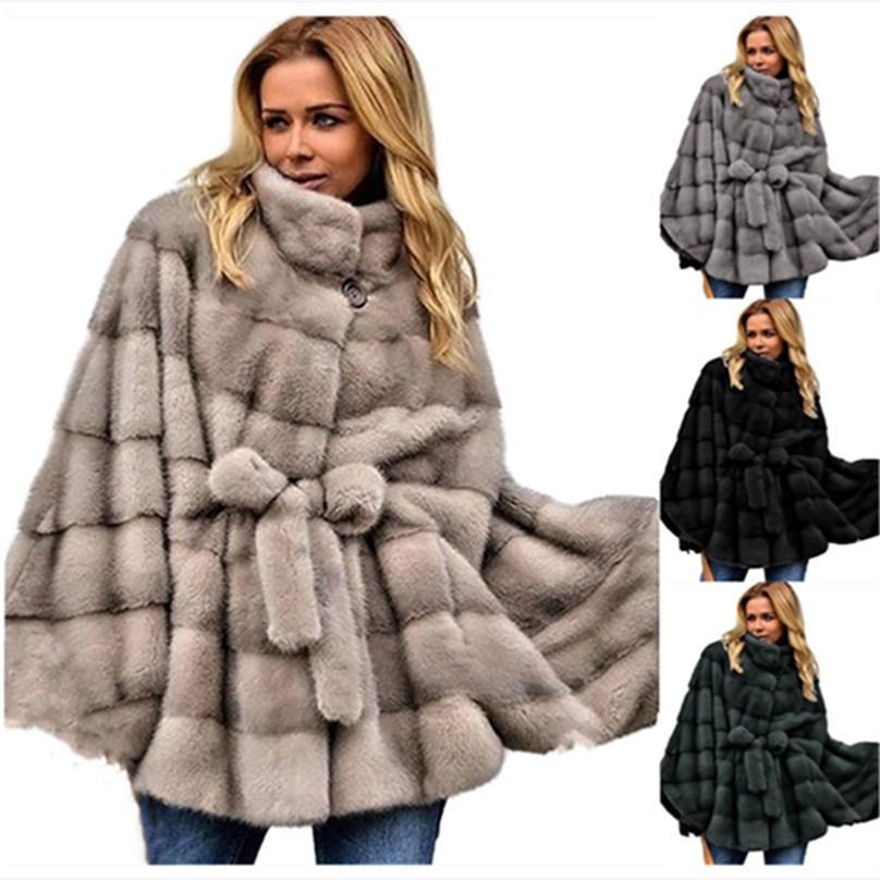 Kadın Artı Boyutu Faux Kürk Güz Kış Giysileri Bulanık Ceket Sıcak Hırka Standı Yaka Ceket Katı Renk Giyim Moda Sıcak Satış Spor Salonu 0747