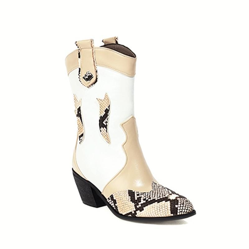 2021 O novo estilo casual rodada dedo do pé tornozelo slip-on serpentine serpentina combinando preta damasco em saltos altos Botas de equitação mulheres robustas 12gu