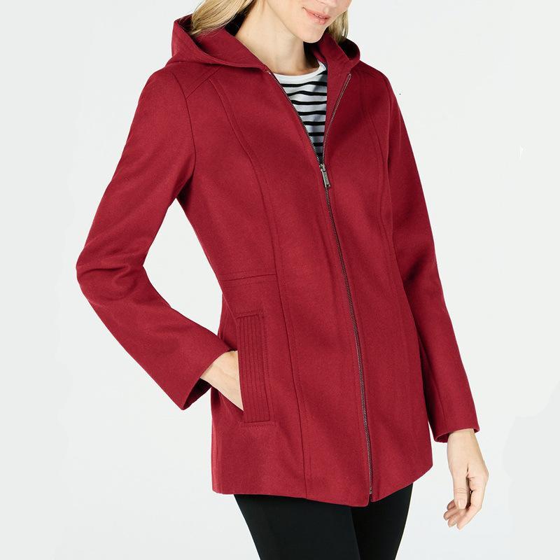 2021 Yeni kadın yün palto bahar yeni rahat moda düz orta-uzun ceket ile ince ceket giyim