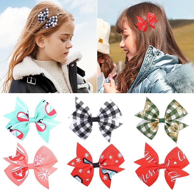 24 unids 3,9 pulgadas Navidad Nuevo estilo Grosgrain Cinta Bows con Clip Peink Clip Horquilla Harrettes Headwear Hermoso Huilin C516