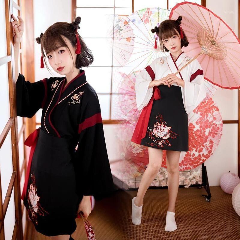 Этническая одежда японское платье кимоно женщина черная белая кошка вышивка сладостная винтажная азиатская юката haori косплей партии 2 штурма set1