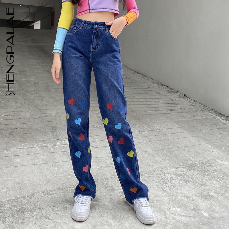 Shengpalae Farbe Herzförmige Jeans Frauen 2021 Frühling Hohe Taille Streetwear Mode Gerade Lose Weibliche Cowboyhose 5A774