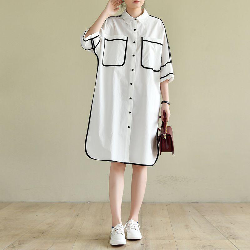 2021 neue natürliche baumwolle frauen sommer mode zusammenkleinern farben einfache design streewear plus size weißes hemd 19wu