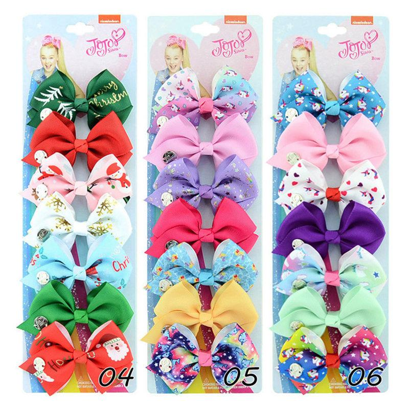 7 unids / lote SIWA Bow Bow Unicorn Baby Girls Clip de pelo 3.5inch Bowknot Hairpin Children Girl Barrettes Peluquería Diseño Cabello Accesorios Regalos