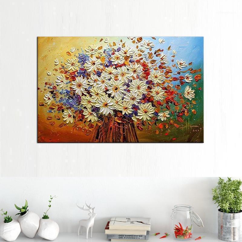 손으로 페인트 팔레트 나이프 꽃 그림 질감 추상 꽃 벽 아트 캔버스 유화 현대 가정 장식 1