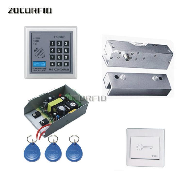 DIY Puerta de cristal 125kHz RFID Teclado de la puerta de acceso al sistema de control de control / bloqueo eléctrico + fuente de alimentación + interruptor + 10pcs Tarjetas de teclas