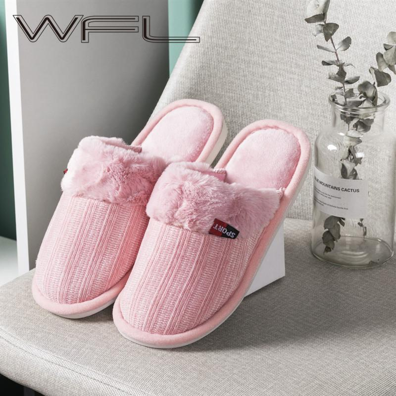 WFL Women Shoes Indoor Warm Winter Slippers Cozy Cotton Soft Non-slip Sole Home Shoes 201128