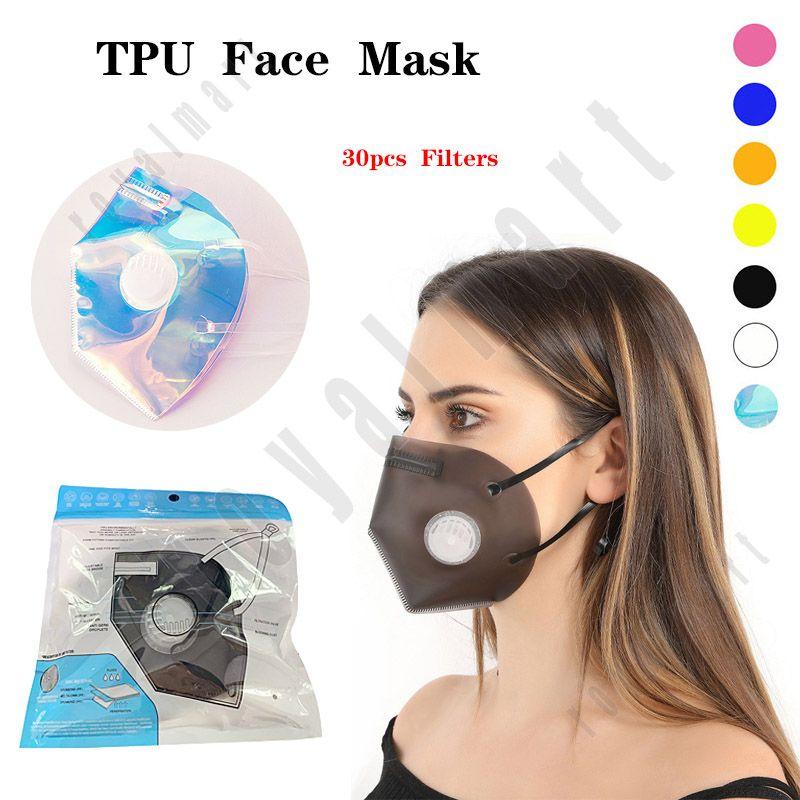 Mascarilla de cara de TPU suave diseñada Visualización transparente Anti-niebla y máscara protectora de la válvula de respiración doble a prueba de polvo con 60 filtros