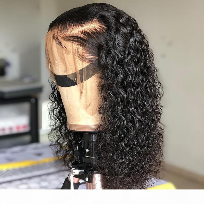 13x6 Parte profonda Parrucca anteriore riccia del pizzo riccio con capelli del bambino bagnato e ondulato parrucche per capelli del Virgin Virgin per le donne nere 9a