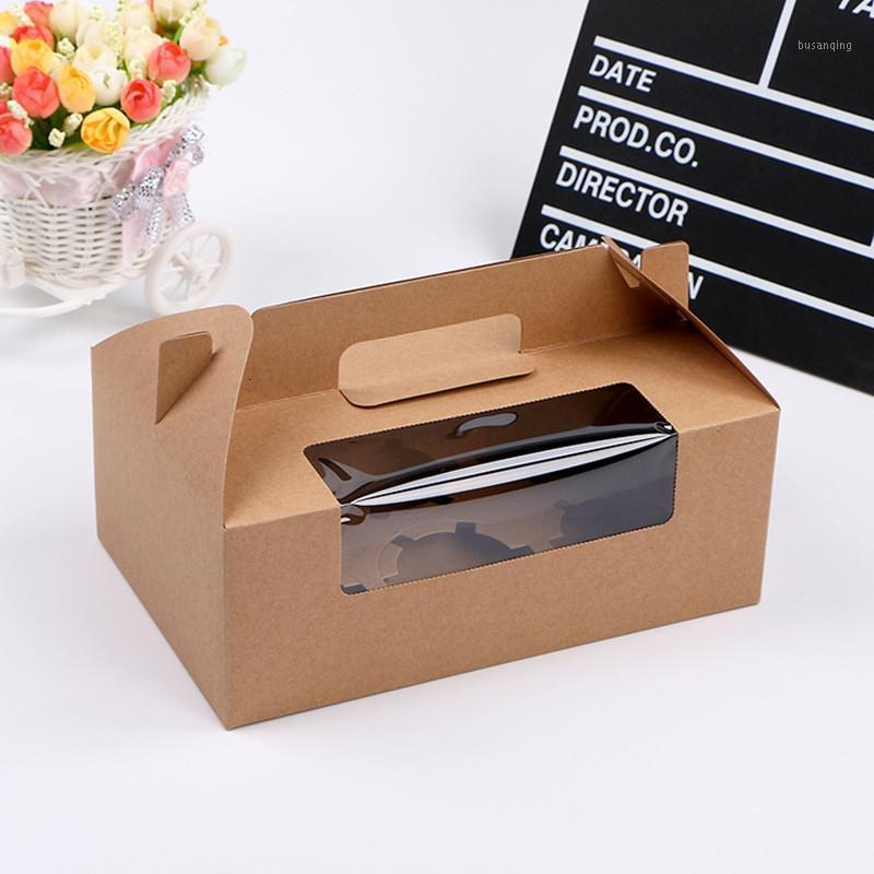 12pcs FAI DA TE Vintage Bianco Kraft Paper Bupcake Candy Dreee Box Box Cake Box con PVC pulito Finestra in PVC Festa di nozze favori Packaging1