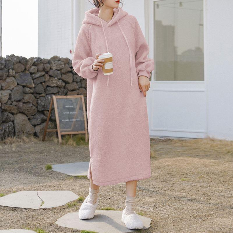 ZANZEA Moda de manga larga vestido con capucha Mujeres Invierno Peluche Fluffy Vestidos Autumn Hoodies Sudadera Sudadera Vestido Vestido Fleece Pullover Robe