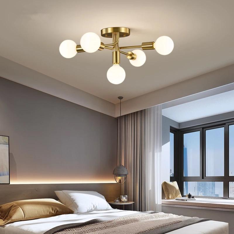 Yeni Modern Tavan Lambası Bakır Tasarım Restoran Yatak Odası Oturma Odası Yaratıcı LED Aydınlatma Noel Ev Dekor Armatürleri