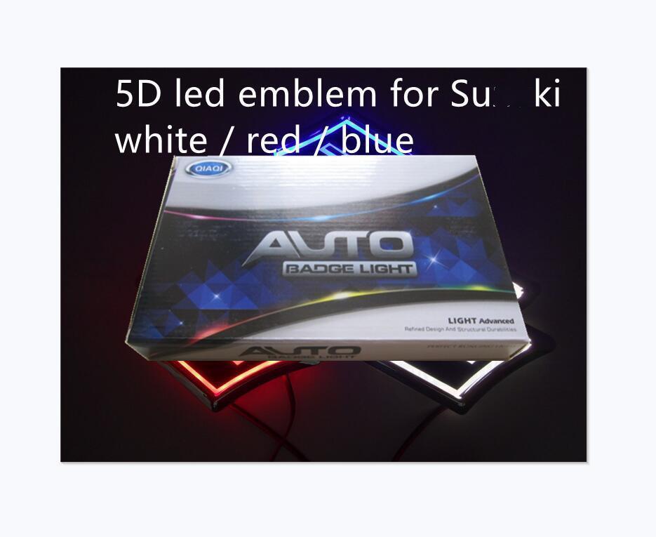 5D Araba LED Amblem Araba LED Rozeti Araba LED Semboller Logo Arka Işık Beyaz Kırmızı Mavi Su * Ki Boyutu 80x80mm
