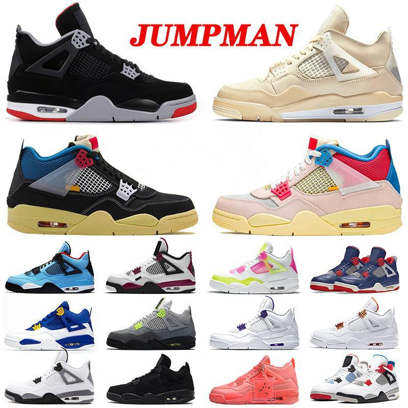 New Arrival Union Basketball Shoes Jumpman Mens Womens 4 off 4s Sail Cactus Jack What The Bred Neon Black Cat Sneakers Trainers