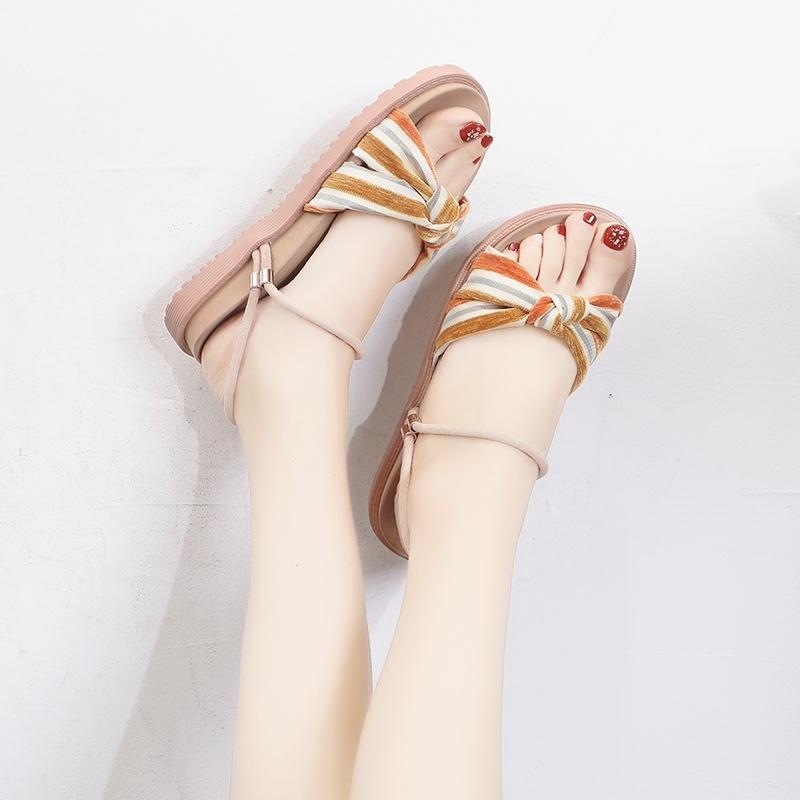 Lucyever Summer Women Sandals Panneaux plats plats épais Fondes de la plate-forme dames Bande à cheville Open Toe Chaussures femme Diapositives Y200405
