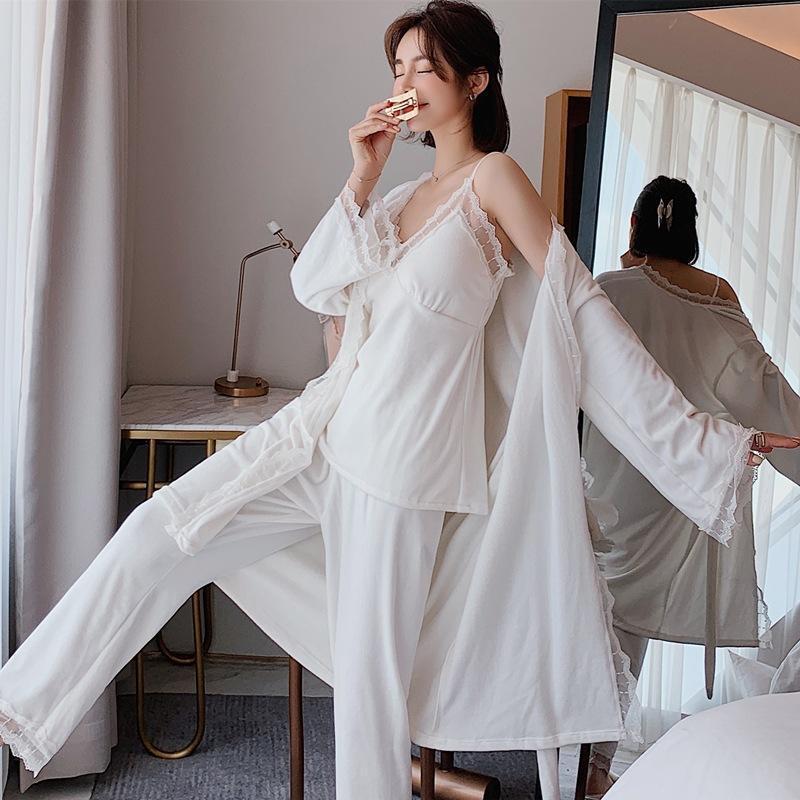 Automne Hiver Pyjamas pour femmes Pyjamas Vêtements de nuit chaleureux Col V Pijama Mujer 3 pièces Pijama Sexy Sleepwear Kimono Robe FMWOB