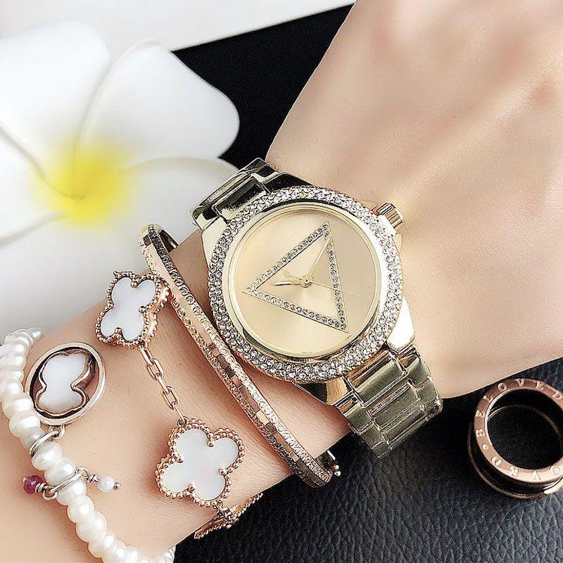 Quarzarmbanduhren für Frauen Mädchen Dreieck Kristall Stil Matel Stahlbanduhr 24