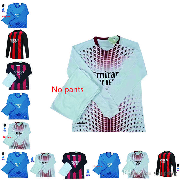 2020 AC Milan Ibrahimovic mangas compridas futebol Jersey Adulto Kit Edição Paqueta Romagnoli Piatek Camisas de futebol Camisa AC Milan Size S-2XL