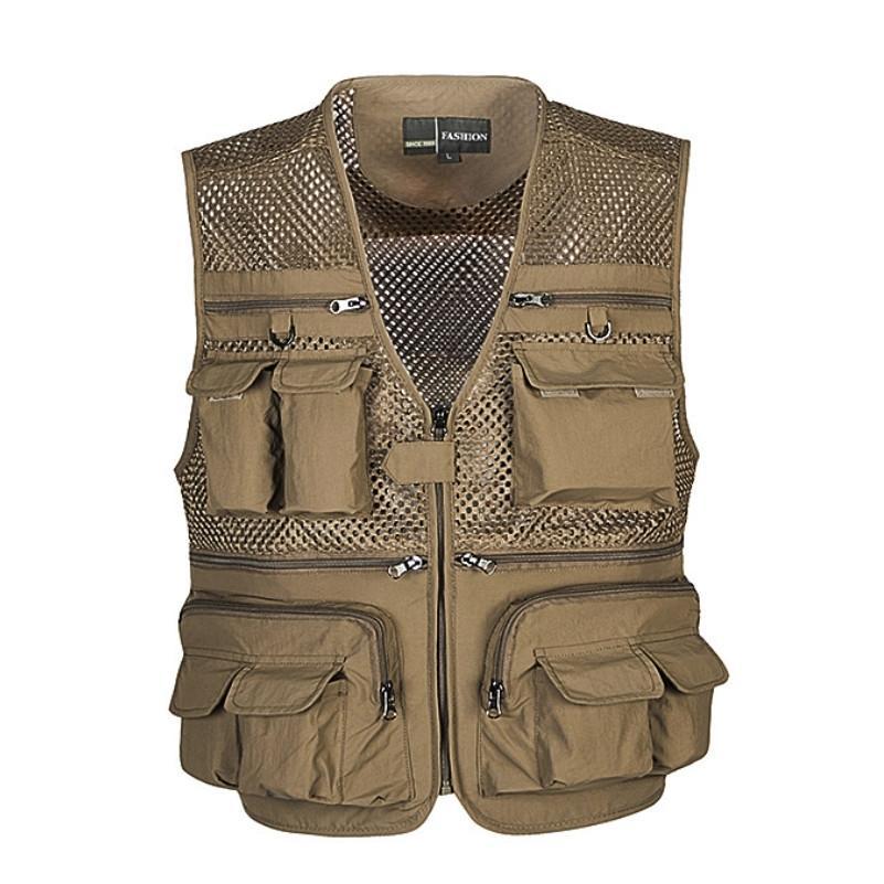 Descarga Chaleco de hombre Tactical Tactical Ganefed Gear Coat Fotógrafo de verano Herramienta de chaleco Muchos bolsillo de malla de bolsillo Chaqueta sin mangas Masculino 201214