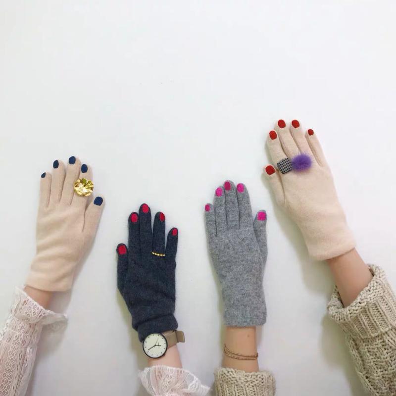 Cinco Dedos Luvas Chic Nail Solish Cashmere Mulheres Criativas de Lã Veludo Grosso Touch Touch Touch Inverno Inverno Quente Condução Quente