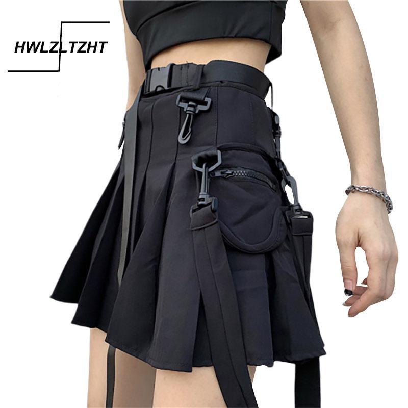 Hwlzltzht harajuku bf estudante vintage cinto saia alta cintura plissada mini saia streetwear hip hop slim saia z1122