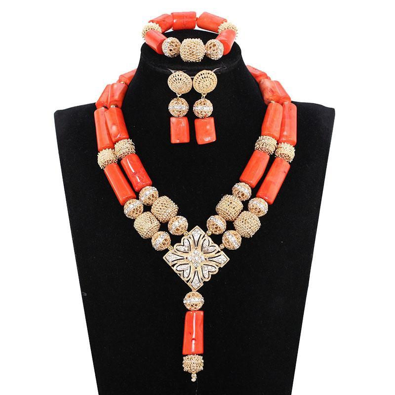 Afrika Nijeryalı Düğün Mercan Kolye Seti 2021 Moda Kadınlar Için Gerçek Mercan Takı Seti Altın Gelin Boncuk Mücevherat ABH679