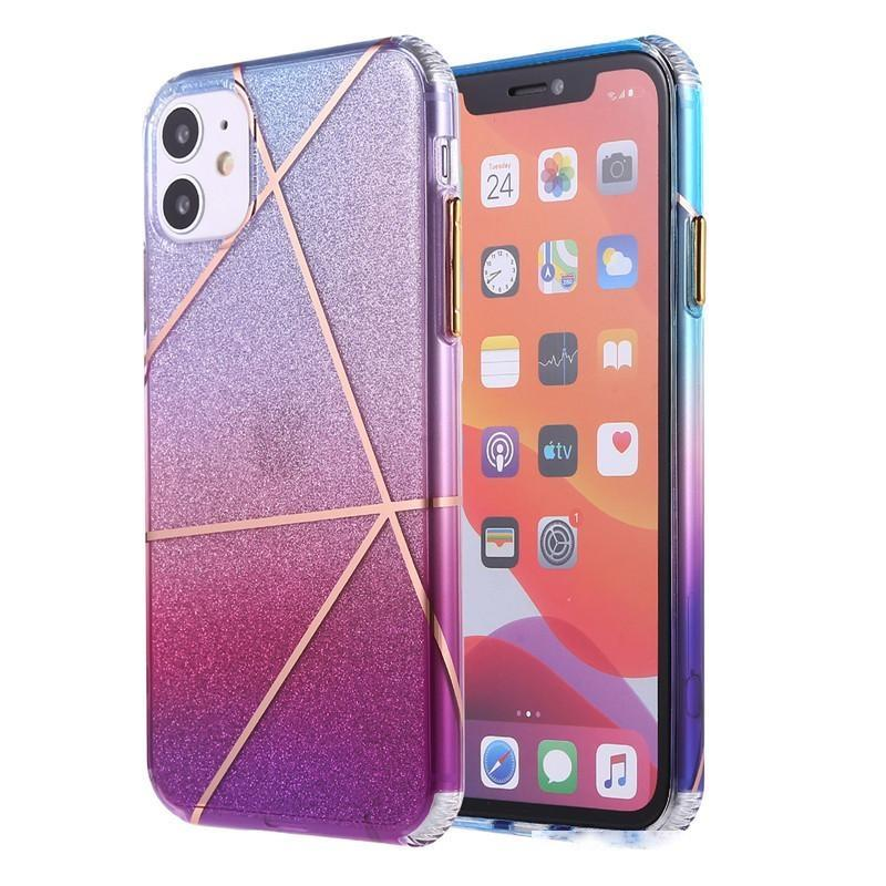 INS Geometric Glitter Gradient Color Phone Case for iPhone 11 pro MAX Xs MAX Xr X 7 8 plus SE Soft TPU Phone Back Cover