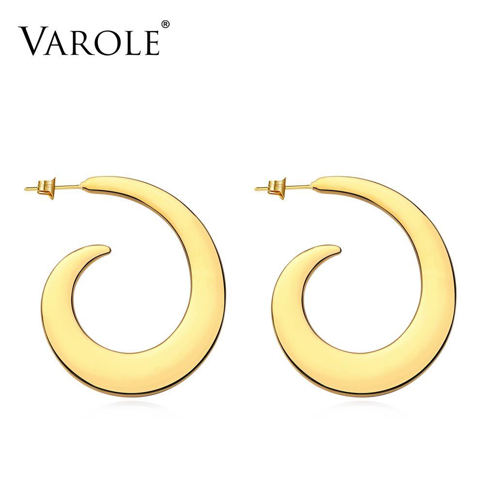 Varole abstrato forma espiral cair brincos para mulheres cor ouro grande declaração acessórios de laço de loop moda jóias oornbellen